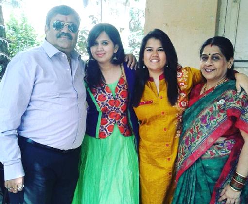 father arvind naik, akshata & akshaya with mother - family photo