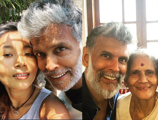 milind and ankita somn with mother usha